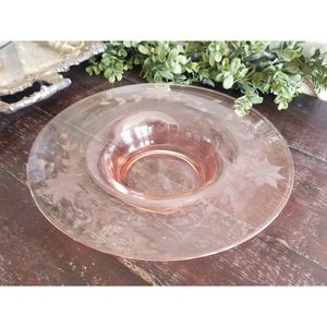 Pink Depression Glass Etched Floral Antique Dish